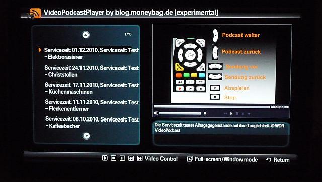 Auflistung der letzten Sendungen der WDR-Servicezeit als VideoPodCast