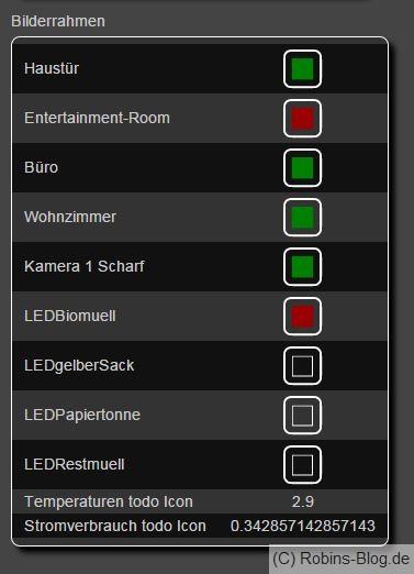 LED - Bilderrahmen innerhalb von Fhem angezeigt
