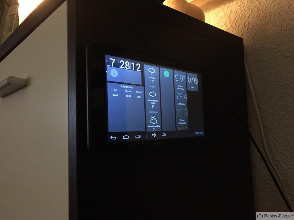 Fhem Tablet UI - preiswertes Tablet mit Neodym-Magneten an die Schrankwand befestigt