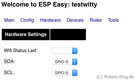 gpio hardware settings espeasy