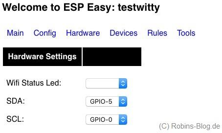 gpio hardware settings espeasy